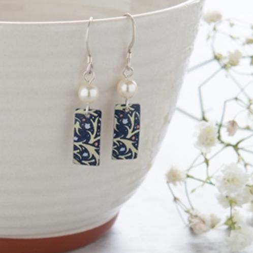 Kate Hamilton Hunter Midnight Floral Rectangle & Pearl Earrings