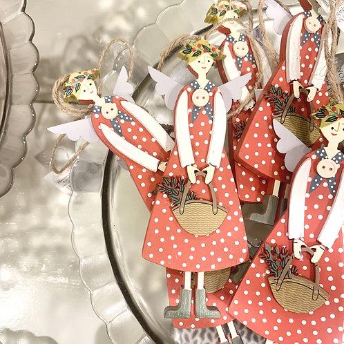 Polka Dot Scandi Angel Decoration