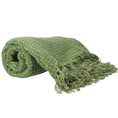 Gisela Graham Green Stab Stitch Cotton Throw