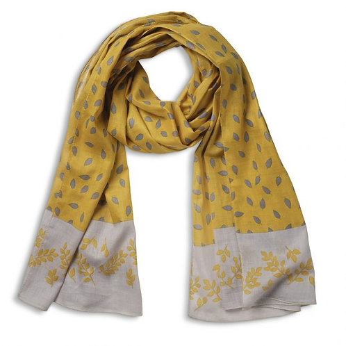 Quintessential Mustard Leaves Organic Cotton Scarf