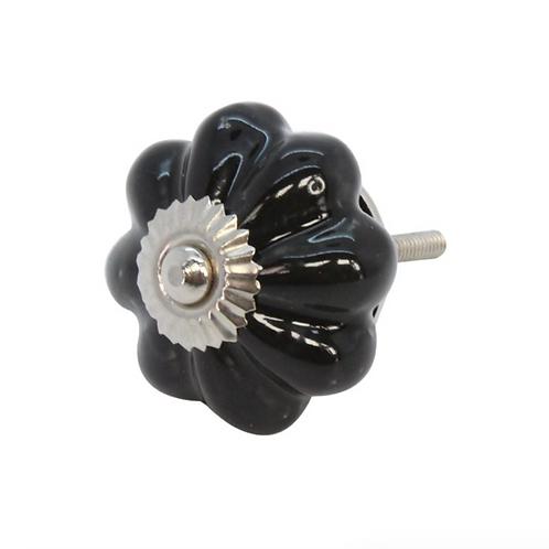 Gisela Graham Black Flower Door Knob