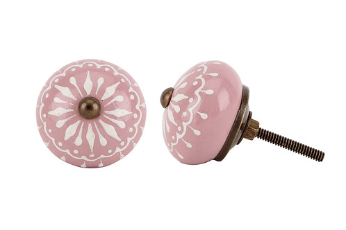 Pink Hand Painted Teardrop Detail Knob