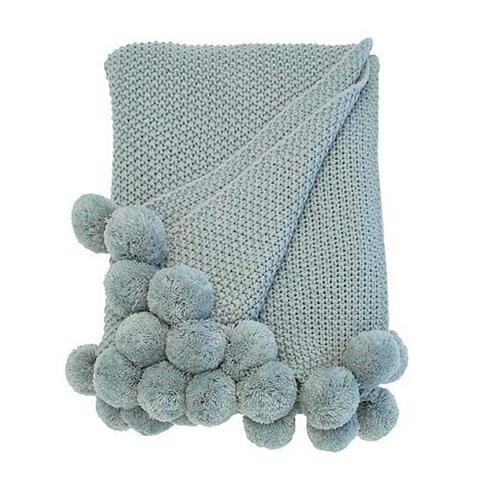 Walton & Co Opal Cosy Knit Pom Pom Blanket