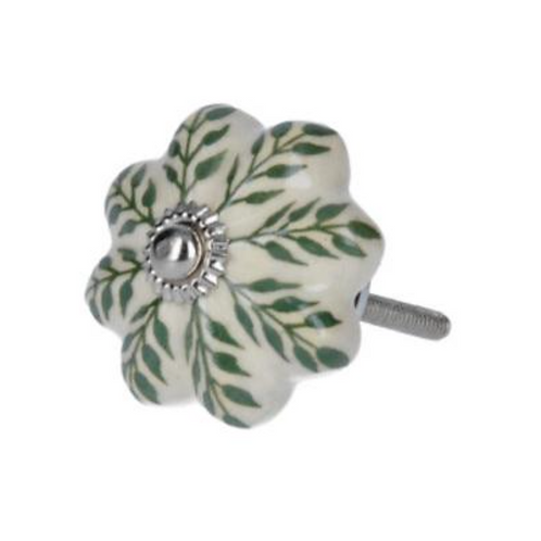 Gisela Graham Ceramic Flower with Green Leaves Knob