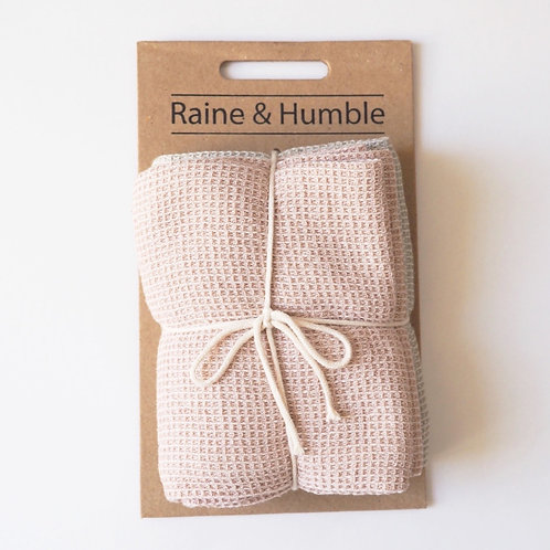 Raine & Humble Pink and Taupe Chambray Waffle 2 Pack Tea Towels