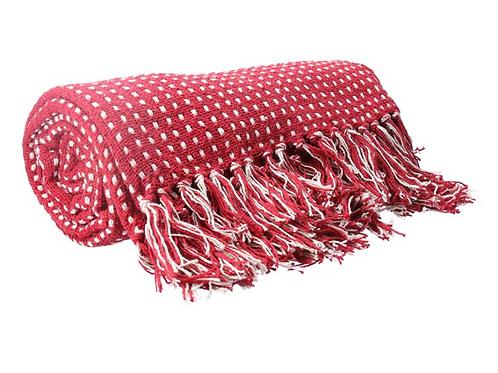 Gisela Graham Raspberry Stab Stitch Blanket