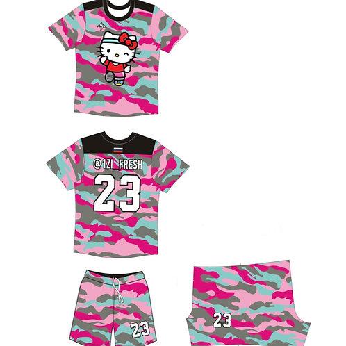 Форма для офп (футболка+шорты) розовый камуфляж