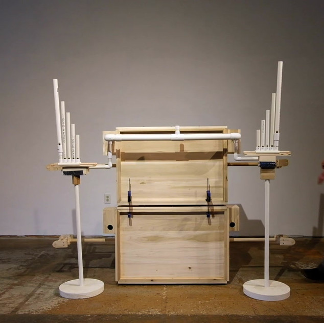 Box Bellow Organ with Interchangeable Pipes by Valerie Skakun and Pat Spadine