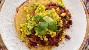 Besan flour savoury pancake, Mexican beans, corn , lime, coriander and avocado salsa