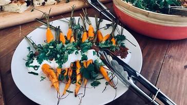 Roasted Dutch Carrots, coconut yogurt dr