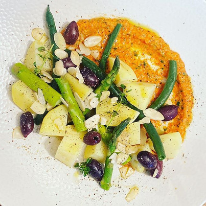 Warm potatoes, green beans, asparagus, k