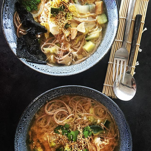 White miso soup with buckwheat soba nood