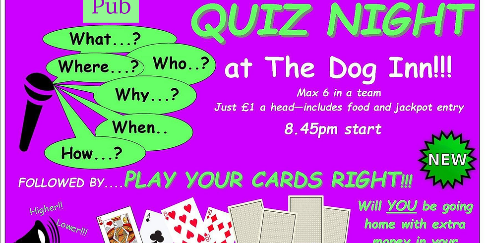 Quiz nights with a twist of play your cards right.