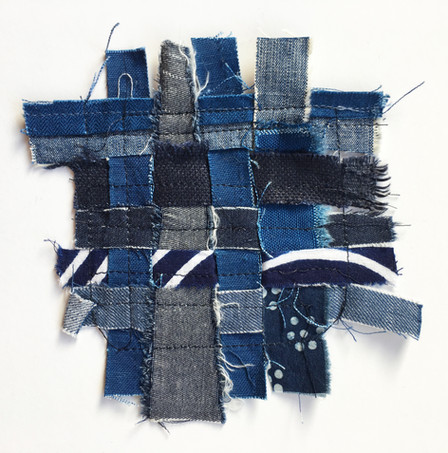 Scraps from sewing are saved and woven into patches for Zero Waste.