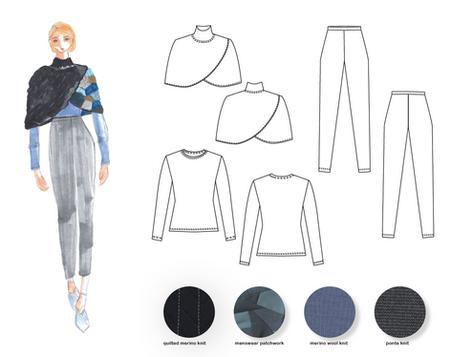 Patchwork Overwrap Outfit