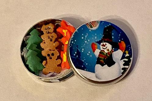 Round Snowman Cookie Tin