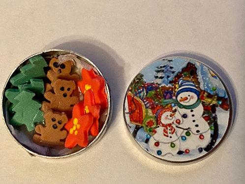 Round Snowmen Cookie Tin