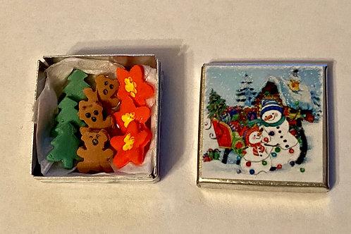 Square Snowmen Cookie Tin