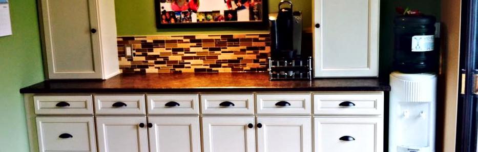 Cabinets with backsplash