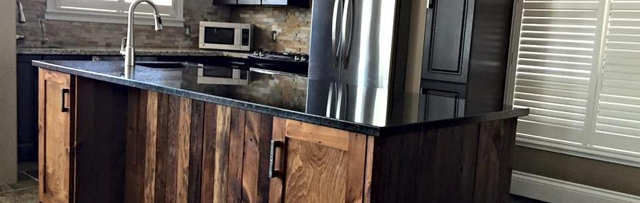 Dark rustic kitchen Island counter