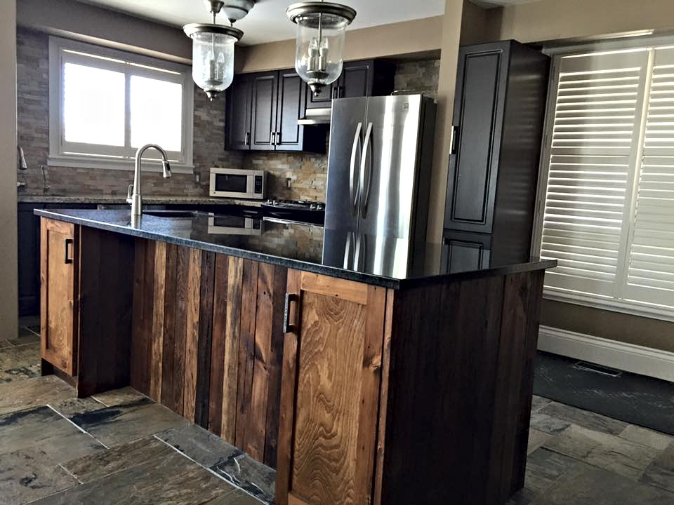 Dark rustic kitchen Island counter