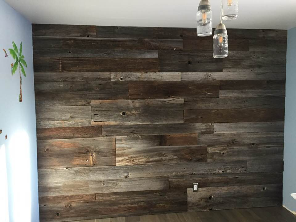 Complete wall repurposed wood