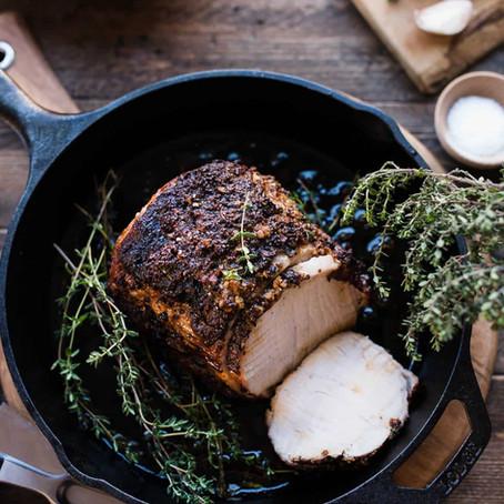 Roast Pork Loin with Balsamic, Dijon & Thyme
