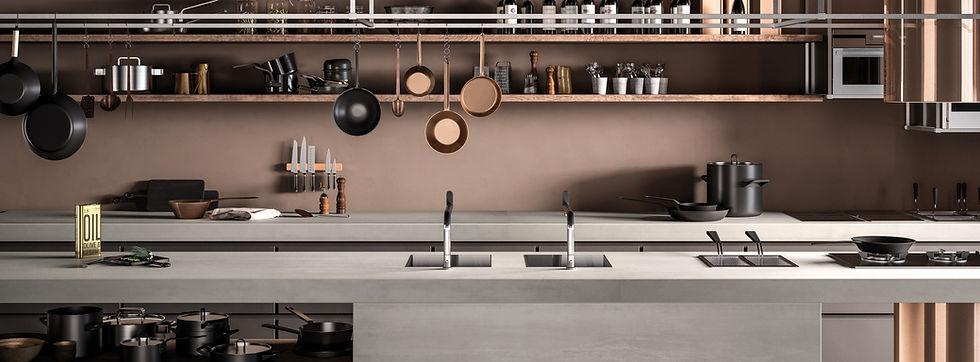 תמונה של מטבח עם משטח ספיינסטון אפור
