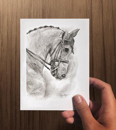 """Dressage Horse Portrait"" Art Card - Folded"
