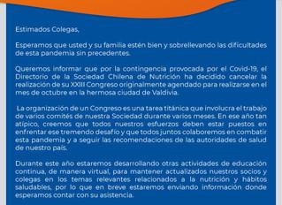 Cancelación XXII Congreso de Nutrición