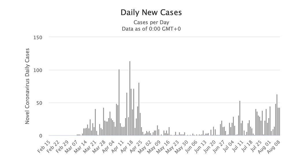 Graph representation of daily new cases of coronavirus in Slovakia