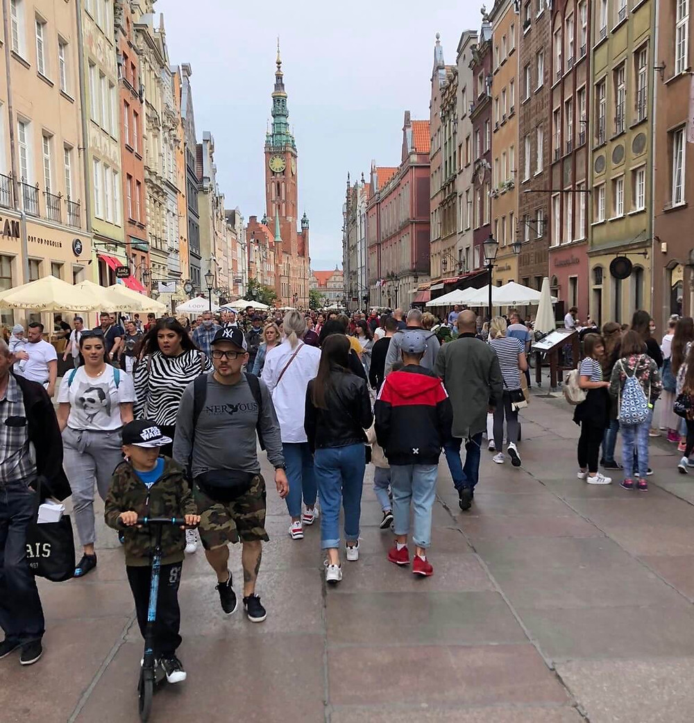 People walking on a touristic spot in Gdansk, City in Poland