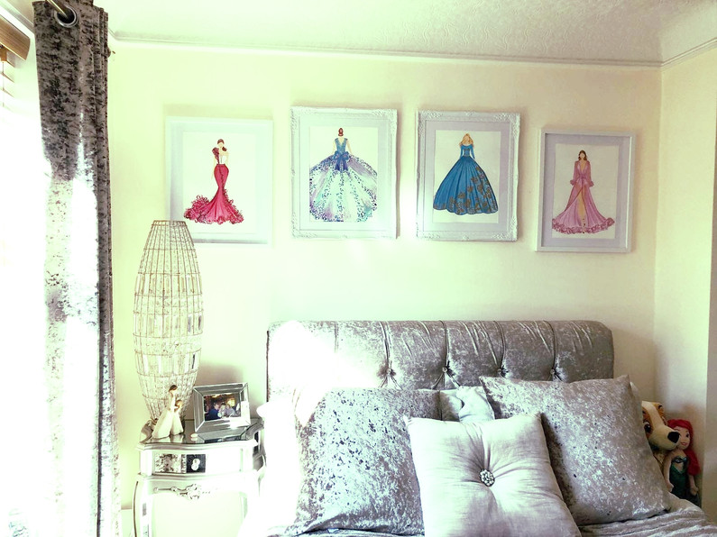 Fashion illustration work created for a client's bedroom. Acrylic inks on paper.