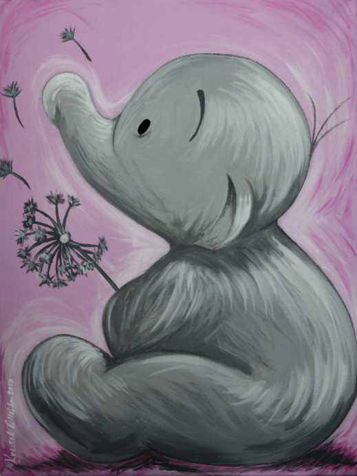 Humphrey's the little elephant painted on a canvas for a baby girl's nursery room. Acrylic on canvas.