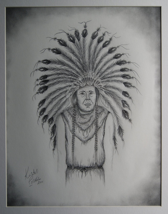 A request for two native american indian inspired sketches for a lady. Pencil on paper.