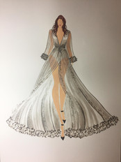 The client requested a fashion inspired drawing in silver for her daughter's bedroom. Acrylic inks on paper  with embellishments.