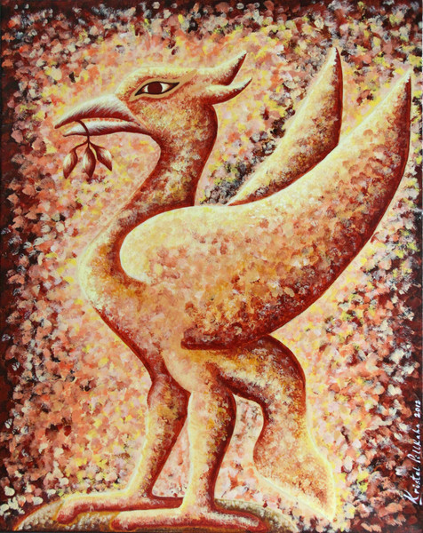 A painting created for a client who requested a Liver bird in neutral colours - preferably browns and beige.  Acrylic on canvas.