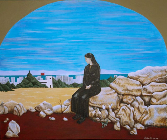 A specific request from a client for a painting that showed a woman crying for her land in Varosha, a small town in the cypriot city of Famagusta. Acrylic on canvas.