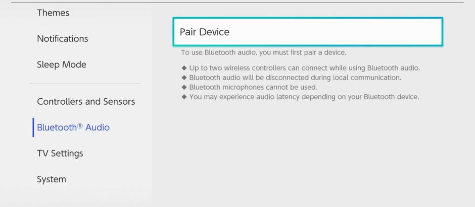 Switch recebe nova atualização(versão 13.0.0) - suporte de áudio Bluetooth e muito mais