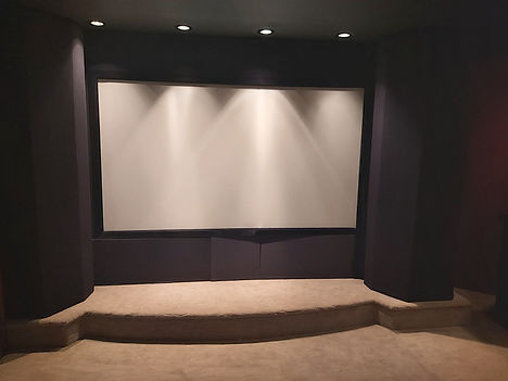 home theater stage with lighting