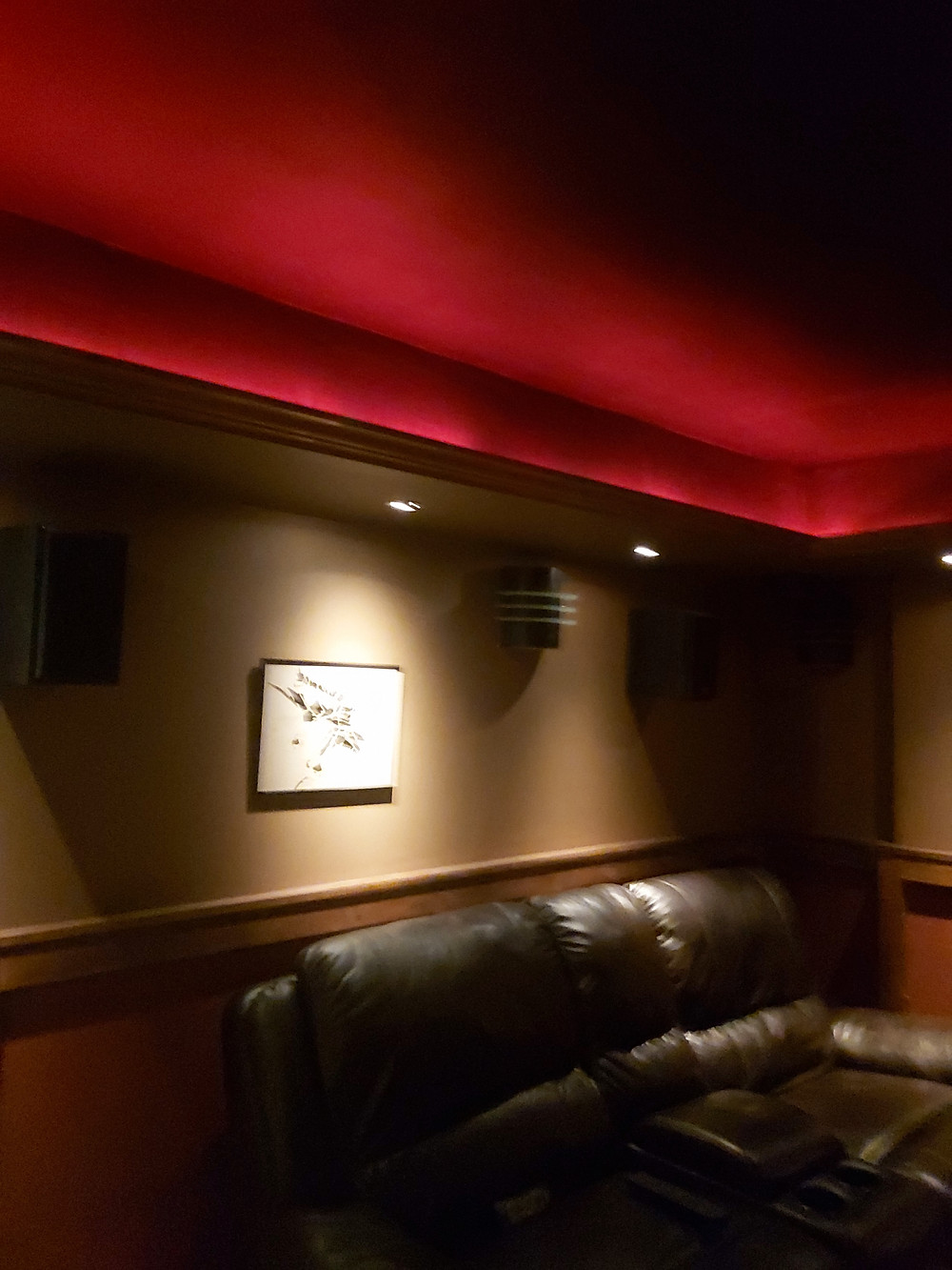 home cinema rope light cove lighting detail and a pot light highlighting a picture on the wall