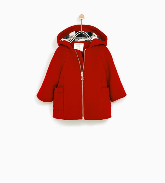 Red Hooded Wool Coat by Zara Kids