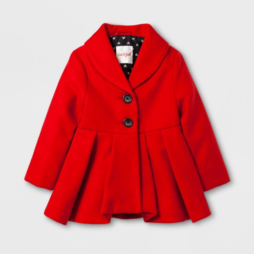 Bright Red Woolen Coat for Toddler
