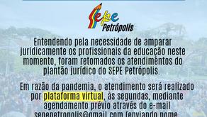 Jurídico do SEPE Petrópolis retoma plantão, através de plataforma virtual