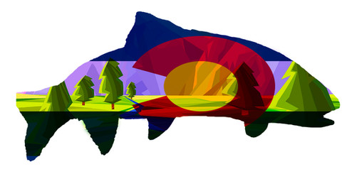 Colorado Flag Trout Art with River and m