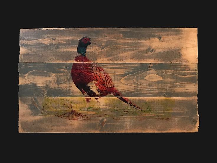 Pheasant Tail Bird on Rustic Wood