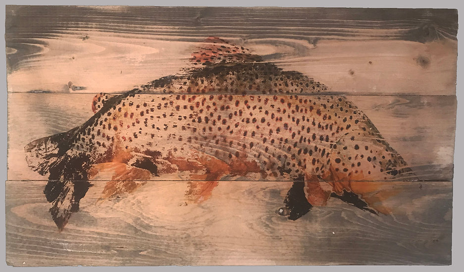 Brown Trout on Rustic Wood