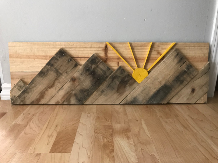 Colorado Mountains Rustic Wood with Suns