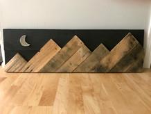 Night Mountains with Moon Dark Rustic Bi