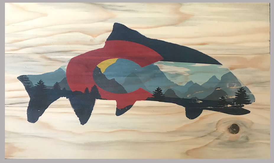 Awesome Colorado Trout Flag with Mountains